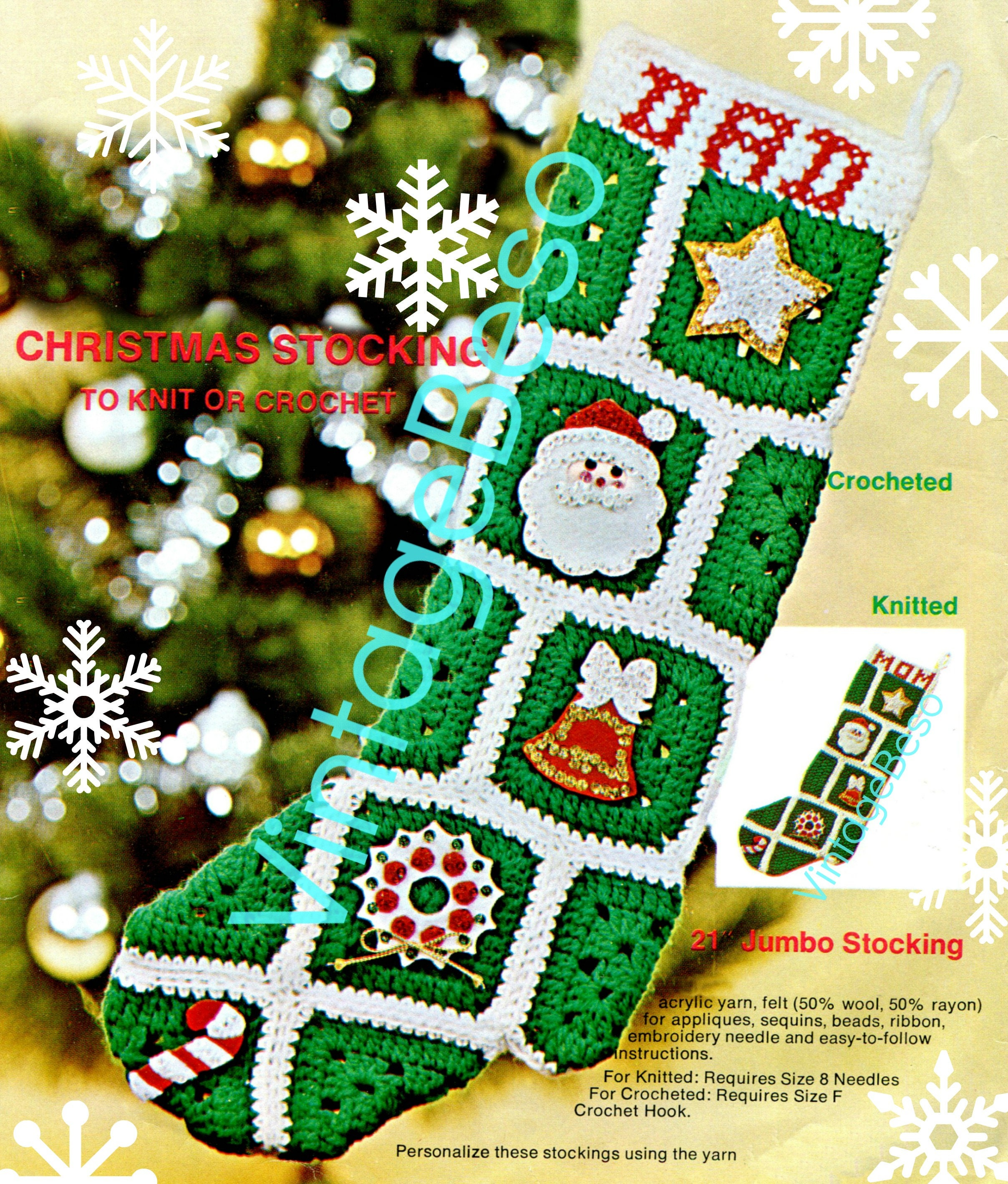 INSTANT DOWNlOAD • Christmas Stocking Crochet Pattern Bell KNITTING ...