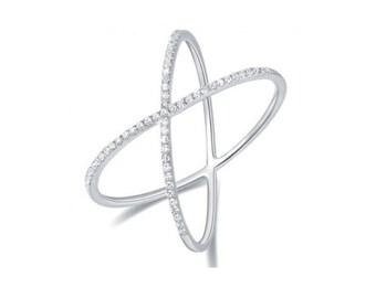 14KT Rose Gold Diamond Criss-Cross Ring