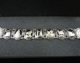 c230 BEAUTIFUL! Sterling Silver Cut out Medallion Link Bracelet