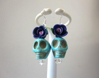 Blue Sugar Skull Earrings Day of the Dead Jewelry