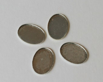 QTY 4 Antiqued Silver Plated 26X18 Oval Shaped Bezel, Oxidized Bezels, Silver Cabochon Holders - Destash