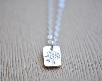 Tree Necklace - Silver Tree Necklace - Stamped Tree Pendant - Silver Tree Pendant - Sterling Silver Tree Necklace