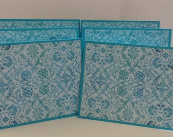 Teal Notes, Aqua Stationery, Turquoise Cards, 6 Cards & Envelopes