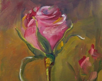 pink rose floral garden art 10x10 oil painting Delilah