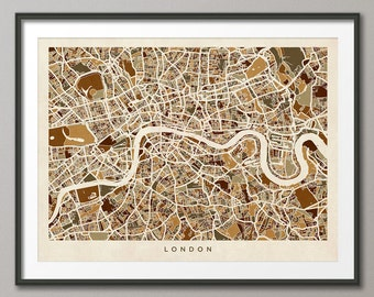 London Map, London Street Map England, Art Print (439)