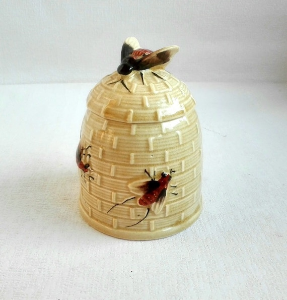 Vintage honing Pot keramische honing Jar Bee deksel