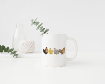 Chickens Mug / Ceramic Mug  / Farm Mug / Farmhouse Gifts / Gifts for Her / Backyard Chickens / Farmhouse Mug / Homestead Gifts / Urban Farm
