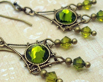 Rhinestone Chandelier Earrings in Olive Green Neo Victorian Style