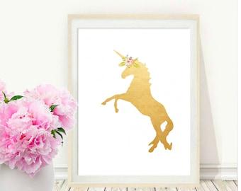 Unicorn Print, Printable Art, Gold Unicorn, Unicorn Wall Art ,Gold Wall Art, Wall Print, Nursery Art, Instant Download, Wall Decor