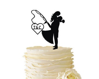 Bride and Groom with Fishing Pole and Date or Initials - Wedding - Anniversary - Acrylic or Baltic Birch Special Event Cake Topper - 130