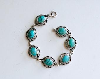 1980s turquoise and silver link bracelet / 80s vintage Southwestern scalloped link sterling bracelet / ocean blue turquoise simple bracelet