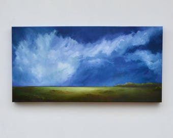 Landscape painting, big sky painting, original oil painting, cloud landscape painting - Out of the Blue