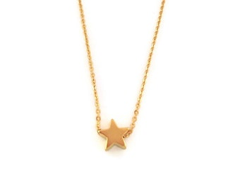 Star gold pendant on fine chain with map