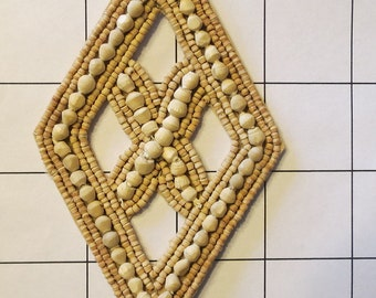 """4 1/4"""" by 2 1/2"""" Wooden Diamond Shape Applique Sew on"""