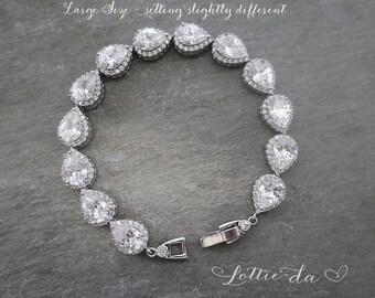 Vintage Style Bridal Bracelet, 1920s Gatsby Style Bracelet, Art Deco Pear Shape Crystal Wedding Bracelet, Bridesmaid Bracelet - 'JOELLE'
