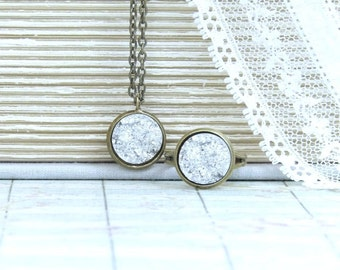 Silver Druzy Jewelry Silver Druzy Ring Druzy Jewelry Set Silver Druzy Necklace Druzy Set Faux Druzy Jewelry