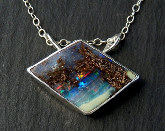 Australian opal necklace / natural opal / boulder opal / October birthstone / opal jewelry / opal pendant / ready to ship / gift for her