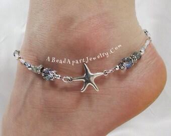 Anklet, Ankle Bracelet, Blue Starfish Anklet, Starfish Jewelry, Beach Anklet, Beach Jewelry, Sea Shell Jewelry, Blue Anklet, Beach Wedding