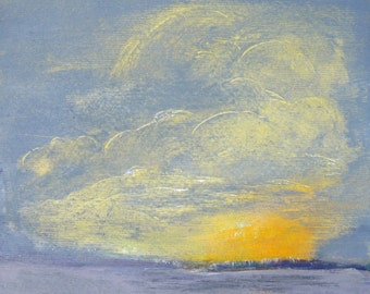 Art Cloud Shapes Face In The Sky Small Painting On Paper Acrylic Painting Sunset Small Original Art Small Artwork For Home Art Gift 7.7x7.7