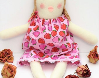 Rag doll for little girls, cloth doll in pink dress, child friendly softie plushie doll, fabric doll blonde hair baby shower birthday gift
