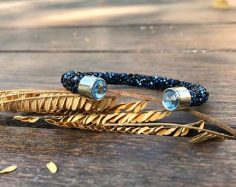 Blue and black crystal bracelet beautiful bangle bracelet crystal bangle
