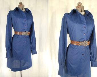 Vintage 1970s Dress - Plus Size Cotton Dress, 70s Blue Boho Dress XL