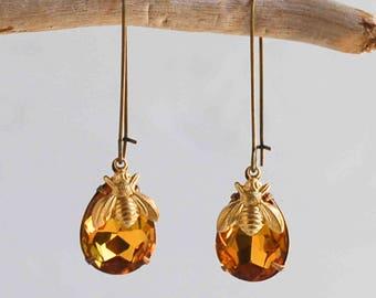 Bee Earrings Crystal Amber Earrings Honeybee Earrings Amber Gold Citrine Earrings Gift for Her Amber Crystals Beekeeper Bumblebee Jewelry