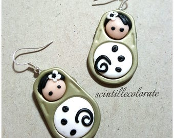 Black and white Matryoshka earrings in polymer clay