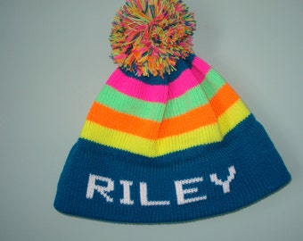 Personalized and Handmade child's knit hat -Riley, Kaitlyn or Emery