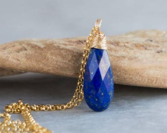 Lapis Lazuli Pendant, Gemstone Necklace, Mothers Day, Gift for Her, September Birthstone Jewelry, Lapis Lazuli Jewelry, Wire Wrapped