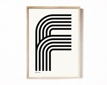 Letter F - modern typography alphabet print.