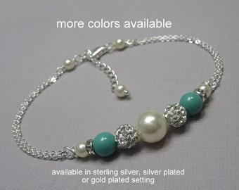 Jade Pearl Bracelet, Bridesmaid Bracelet, Swarovski Ivory and Jade Pearl Bridesmaid Bracelet, Wedding Bracelet, Mint Green Bridesmaid Gift