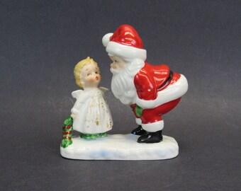 Vintage Santa Claus and Angel Christmas Figurine (E10584)