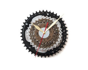Modern Wall Clock, Industrial Wall Clock, Bicycle Wall Clock, Steampunk Wall Clock, Boyfriend Gift, Husband Gift, Father Gift, Gear Clock,