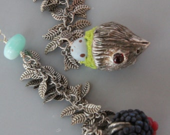 Bird and Berry lariat Necklace