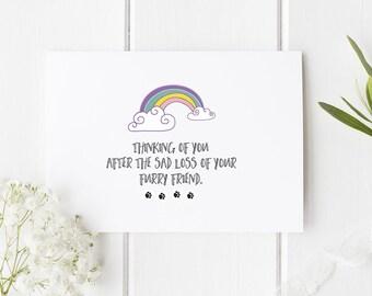 Rainbow Bridge Card For Pet Loss / Pet Loss Card / Pet Death / Pet Condolences / Pet Sympathy Card / With Sympathy / Card / Cards