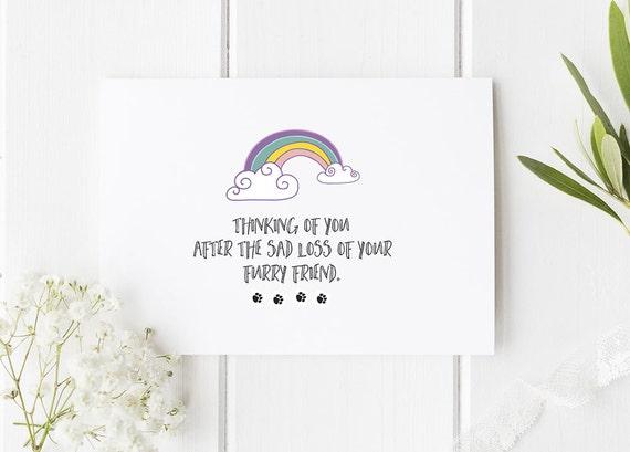 rainbow bridge card for pet loss pet loss card pet death