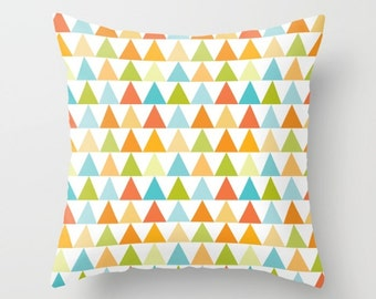Triangle Pillow, Modern Throw pillow, contemporary pillow, pyramid pillow, shapes pillow, geometry pillow, pattern, Bold, orange, green, art