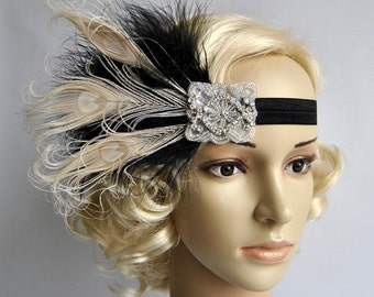 Great Gatsby headpiece Black Ivory Flapper Feather Headband 1920s Wedding rhinestone Headband, Vintage Inspired, Feather Bridal headband