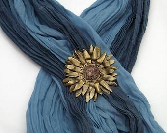 Bronze und Kupfer Sonnenblumen Brosche, handgefertigte gemischten Metall, Kupfer und Bronze, Sonnenblumen-Schmuck, Sonnenblumen-Liebhaber, Kansas State Blume