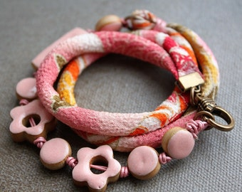 Japanese Cord Bracelet,  boho bracelet, flower bracelet, cottage chic jewelry, pink fabric bracelet, whimsical jewelry