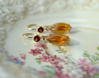 Golden Topaz Earrings, Vintage Glass Leaf Earrings, Garnet Earrings, 14k Gold Fill Earrings, Garnet Jewelry, Mothers Day Gift, For Women