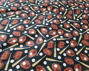 Baseball Bat Glove Cotton Fabric  |  Baseball Fabric | Baseball Cotton Sewing | Fabric for him | Baseball | Black Background