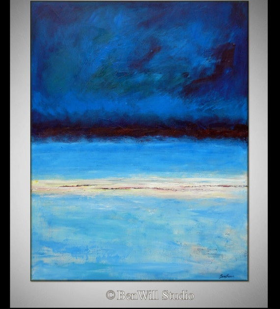 Abstract BLUE Painting Made to Order Modern Decor - HORIZON  by BenWill
