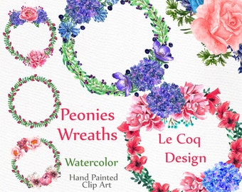 "Watercolor wreaths clipart: ""WREATHS CLIP ART"" Wedding clipart floral clipart Diy invite wedding invitation Hand painted floral frame"