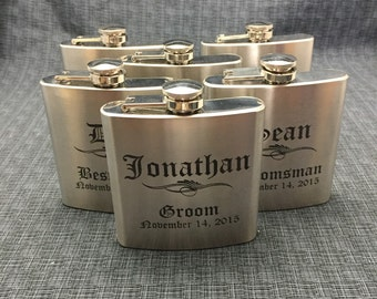 Set of 6 Laser Engraved Stainless Steel Flask - 10 Designs - 20 Fonts - Groomsman Gift - Bridesmaid Gift - Wedding Favor -  Dad or Grad Gift