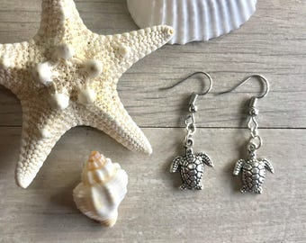 Silver plated sea turtle earrings