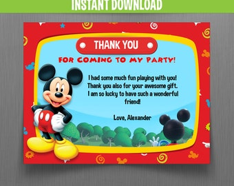 Disney Mickey Mouse Clubhouse Birthday Thank You Cards - Instant Download and Edit with Adobe Reader