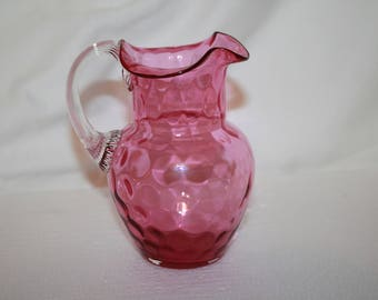 S4 Cranberry Optic Dot Creamer Kanawha Mini Pitcher Dot Optic AKA Inverted Thumbprint