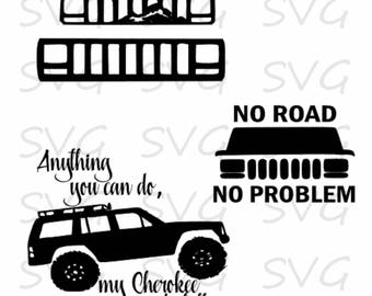 Jeep Cherokee Cut file, svg, dxf, fcm, eps, and png. Instant Download Cut File, Cherokee Cut FIle, Jeep Cut File.
